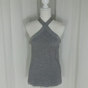 Halter Sweater with Shimmer Thread